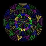 Mystery mandala. Mandala in purple green blue & yellow swirls Stock Photography