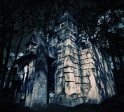 Mystery medieval castle. In forest at night Stock Photography