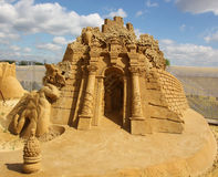 """Mystery of mysteries based novel by Bassani garden of Finzi-Contini. KOLOMENSKOYE, MOSCOW, RUSSIA - AUGUST 2, 2013: """"Mystery of the world"""".  sand Sculpture Royalty Free Stock Photos"""