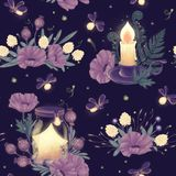 Mystery night seamless pattern. With dream jar, candle, wild flowers, fild plants and firefly. Beautiful bedclothes or diary cover wrapping paper, fabric and Royalty Free Stock Photos