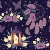 Mystery night seamless pattern. With dreamcatcher, wooden lantern with candle, wild flowers, fild plants and firefly. Beautiful bedclothes or diary cover Stock Photos