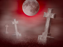 Mystery old graveyard at midnight. Halloween collage Stock Photography