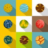 Mystery planet icon set, flat style. Mystery planet icon set. Flat style set of 9 mystery planet vector icons for web design Royalty Free Stock Photos