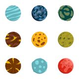 Mystery planet icons set, flat style Stock Photo