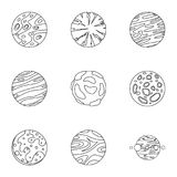 Mystery planet icons set, outline style Stock Images
