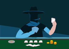 A Mystery Player of Poker or any Card Game. Editable Clip Art. Stock Image