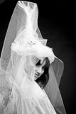 Mystery portrait. Portrait of strange woman in white bridal veil Stock Images