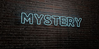 MYSTERY -Realistic Neon Sign on Brick Wall background - 3D rendered royalty free stock image Stock Images