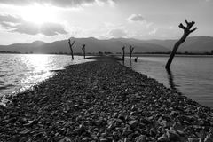 Mystery road across a lake. Black and white Royalty Free Stock Photo