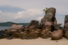 Mystery rocks. On the beach of the island in Andaman Sea which appeared after tsunami Stock Image