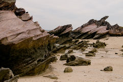 Mystery rocks. On the beach of the island in Andaman Sea which appeared after tsunami Stock Images
