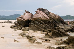 Mystery rocks. On the beach of the island in Andaman Sea which appeared after tsunami Royalty Free Stock Images