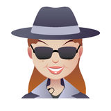 Mystery secret shopper woman face. Mystery red-haired secret shopper full face.  Smiley woman in a hat in a coat and sunglasses with a microphone Stock Photography