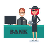 Mystery shopper woman in spy coat checks bank Stock Images