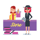 Mystery shopper woman in spy coat checks clothing store Stock Photography