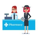Mystery shopper woman in spy coat checks drugstore Stock Image