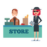 Mystery shopper woman in spy coat checks grocery store Royalty Free Stock Photography