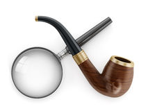 Mystery solving tools of the trade. Classic Pipe and Magnifying Glass. On white background Royalty Free Stock Photo