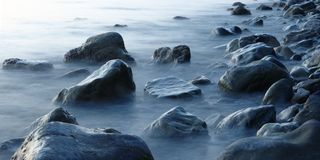 Mystery stones. On the Black sea shore  - long exposure Stock Photography