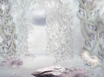 Mystery. Surrealistic Mysterious White Forest Royalty Free Stock Images