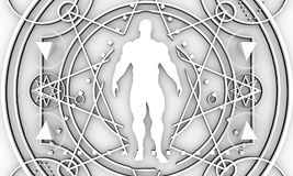 Esoteric Mystical Symbols. Mystery, witchcraft, occult and alchemy tattoo sign. Mystical vintage gothic geometry thin lines symbol with silhouette of a muscular Royalty Free Stock Images