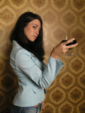 Mystery Woman With Drink Royalty Free Stock Photos