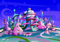 Mystery Wonderland. Fantastic Alien City. Royalty Free Stock Image