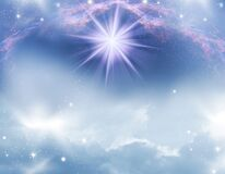 Mystic abstract magic angelic spiritual religious blue background
