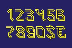 Mystic angular stylized numbers with currency signs of dollar and euro.  vector illustration