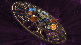 Mystic astrology zodiac horoscope symbol with twelve planets in cosmic scene. 3D rendering. 3D rendering image of a brilliant gold zodiac horoscope sign with the Royalty Free Stock Photo