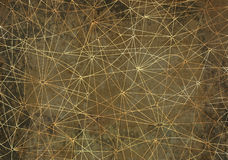 Mystic background with abstract golden lines and gray texture. Abstract background with golden network lines on gray texture for wallpapers, cards, textile, arts Royalty Free Stock Photo