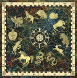 Mystic background with chart of zodiac animals in frame with compass Royalty Free Stock Photography