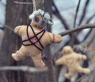 Voodoo doll with pins hanging on the tree. Mystic background with ritual esoteric objects, occult and halloween scary concept royalty free stock photo