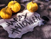 Happy halloween text on old grunge paper page with small pumpkins stock photos