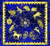 05_Mystic background with zodiac animals in golden frame with compass. Mystic background with zodiac animals in golden frame and compass. Vintage holiday Royalty Free Stock Photography