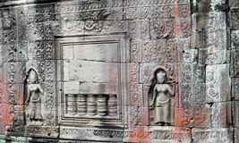 Mystic bas-relief on the walls of Cambodian ancient city Ankgor Wat Royalty Free Stock Photos