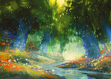 Mystic blue and green forest. With a fantasy atmosphere,illustration painting Royalty Free Stock Photo