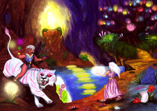 Mystic Cave Worlds (2006). An older sorcerer man riding on a light blue sabretooth tiger in the midst of a magical ritual while holding a red bowl filled with Vector Illustration