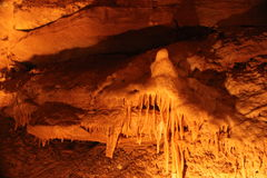 Mystic Caverns - Stalactites and Stalagmites - 13. Stalactites and Stalagmites (mineral formations) in caves at Mystic Caverns in Harrison, Arkansas stock image