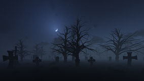 Mystic Cementery Foggy Night Royalty Free Stock Image