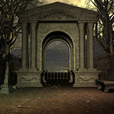 Mystic Cemetery. 3D Render of an Mystic Cemetery stock illustration