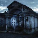 Mystic cemetery background at night stock illustration