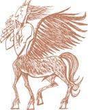 Mystic Centaur plays the flute. Mystic Centaur with wings plays the flute. illustration of Old Greek myth vector illustration