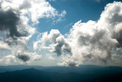 Mystic clouds. Over the Carpathian mountains stock photos
