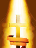Mystic Cross with banner on golden background Stock Images