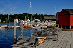 Mystic, CT: Lobster Traps on Pier Stock Image