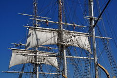 Mystic, CT: Sails and Masts of 1841 Whaling Ship Royalty Free Stock Photography