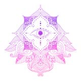 Seeing eye ethnic pattern vector. Mystic decorative element - seeing eye in floral frame, pink and violet colored. Psychedelic, esoteric, magical symbol, line stock illustration