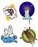 Mystic designs. New Age and Mystic themed decorative spots vector illustration