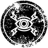 Mystic eye distressed icon. A creative illustrated mystic eye distressed icon image stock illustration
